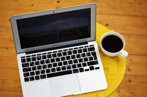 a laptop and a coffee