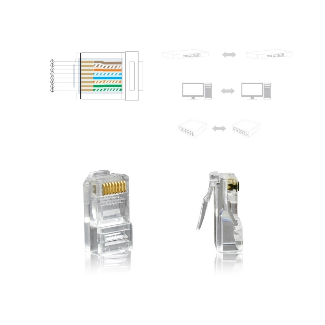 50pcs Rj45 Modular Network Cable Lan Connector Plug End