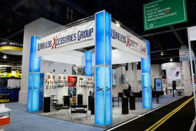 A cell phone trade show booth