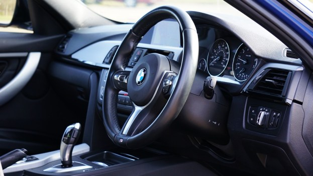 dashboard of a BMW car