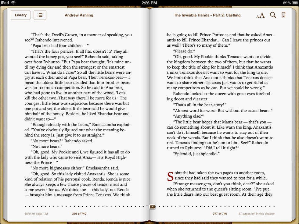 Screenshot taken on iPad of pages 376 & 377 of Dark Tales of Randamor the Recluse - Book 5, The Invisible Hands - Part 2: Castling by Andrew Ashling