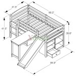 Mulberry Boys Girls Cabin Loft Beds With Slide Desk Storage