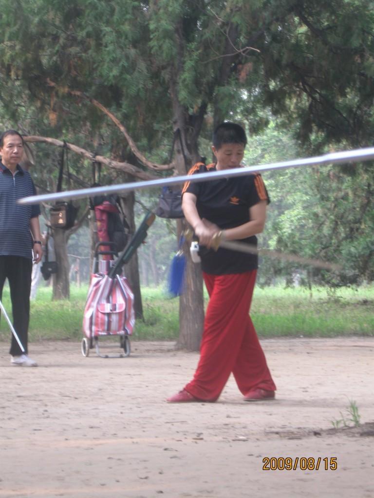 La Maestra Liu Jingping spiega un movimento di spada a Tain Tan Gong Yuan - Beijing