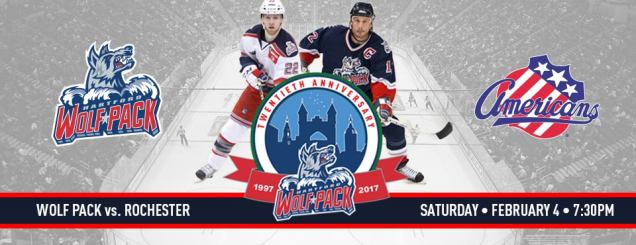 Image result for Hartford Wolf Pack vs. Rochester Americans feb 4