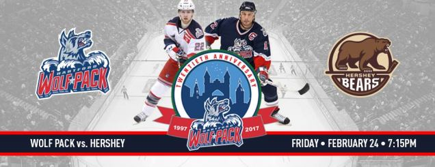 Image result for Hartford Wolf Pack vs. Hershey Bears feb 24
