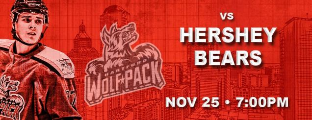 Image result for HARTFORD WOLF PACK VS. HERSHEY BEARS Nov 25