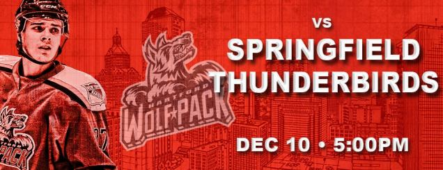 Image result for Hartford Wolf Pack vs. Springfield Thunderbirds Dec 10
