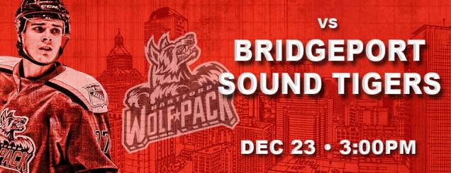 Image result for Hartford Wolf Pack vs. Bridgeport Sound Tigers Dec 23