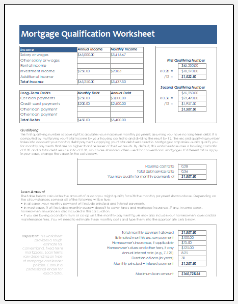 Ms Excel Mortgage Qualification Worksheet Template
