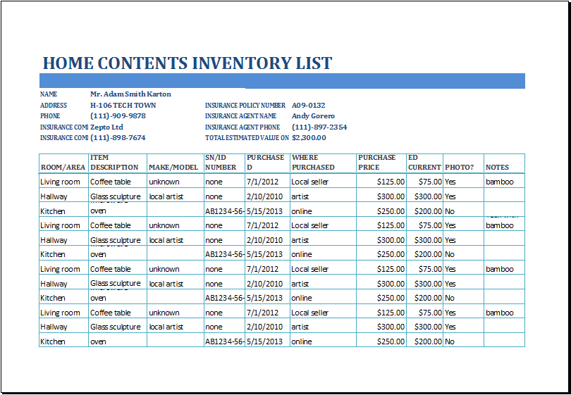 Microsoft Templates Inventory Property Word