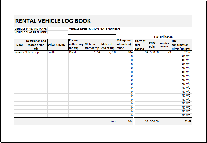 car log template