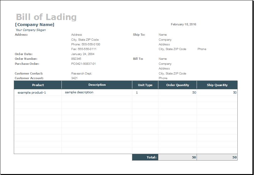 Bill Of Lading Templates 13 excel pdf formats simple bill of – Simple Bill of Lading