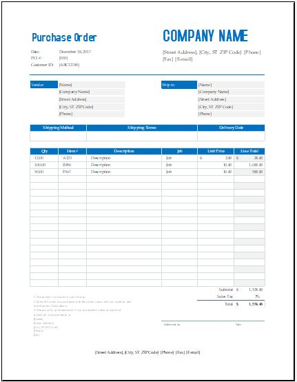 Bulk Wholesale Purchase Order Template Excel Templates