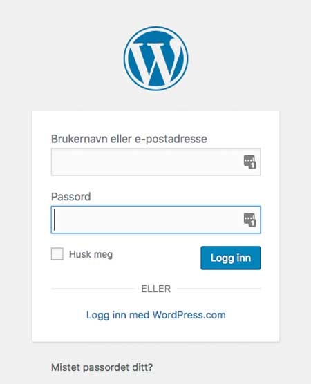 Login wordpress one.com