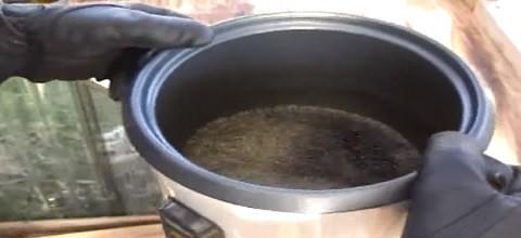 סיר אורז ובתוכו מתבשל שמן קנאביס רפואי