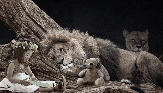 דמויות מאגדות, אריה, לביאה, דובי, ילדה