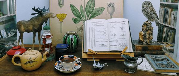 Samling af smukke antikviteter, bøger, tekopper og andre vintage og retroting