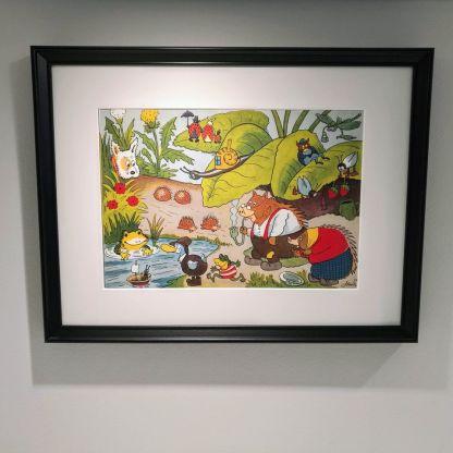 Indrammet illustration: Familien Pindsvin af Storm P til børneværelset