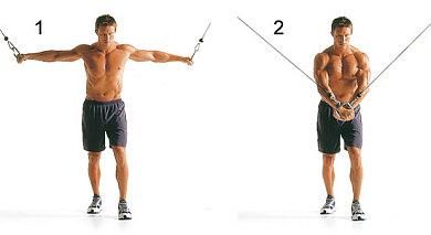 Brustübung am Kabelzug für den untere Brustmuskel