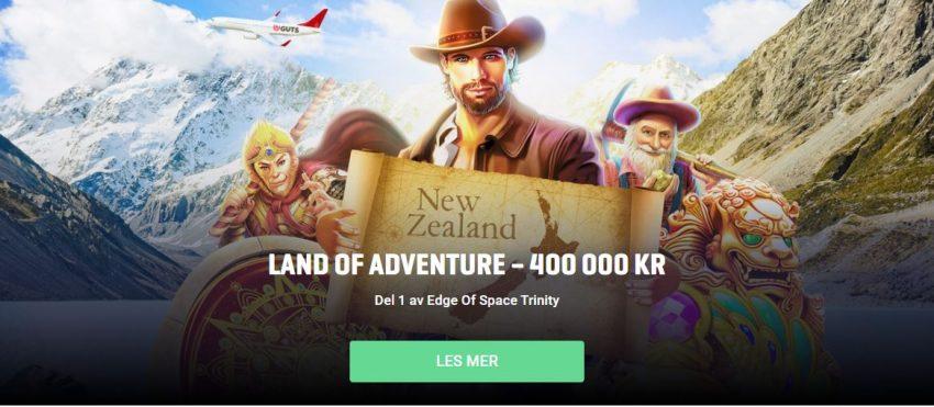 Guts Casino Land of Adventure Win reis naar Nieuw-Zeeland