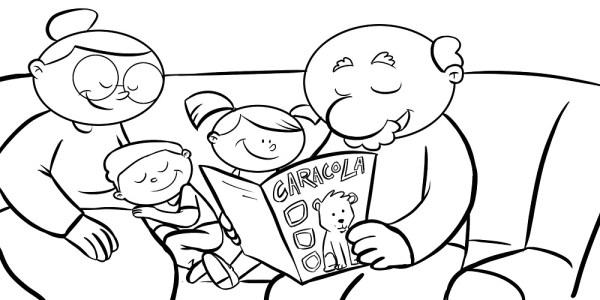 dibujo Abuelos y nietos con ñ de España