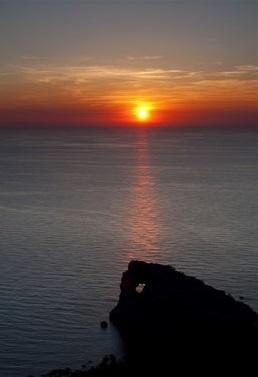 Puesta de sol con ñ de España Sa foradada Mallorca