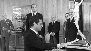 Adolfo Suárez jurando.Con ñ de España