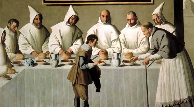 «San Hugo en el refectorio», Franciso de Zurbarán (Museo Bellas de Sevilla) © Ministerio de Cultura