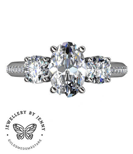 ring med oval diamant