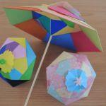 折り紙で作る梅雨の日の立体的なカラフル傘の折り方・作り方