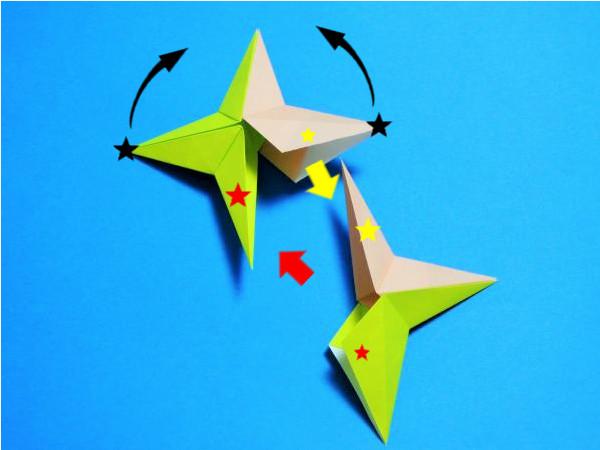折り紙5枚で作る立体的な星の折り方|画像で簡単にわかりやすく