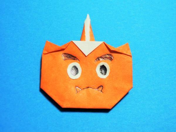 折り紙で節分の赤鬼の簡単な折り方|1本角の鬼の作り方