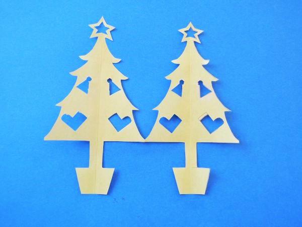 折り紙でクリスマスツリーの切り絵の作り方図面型紙図案無料