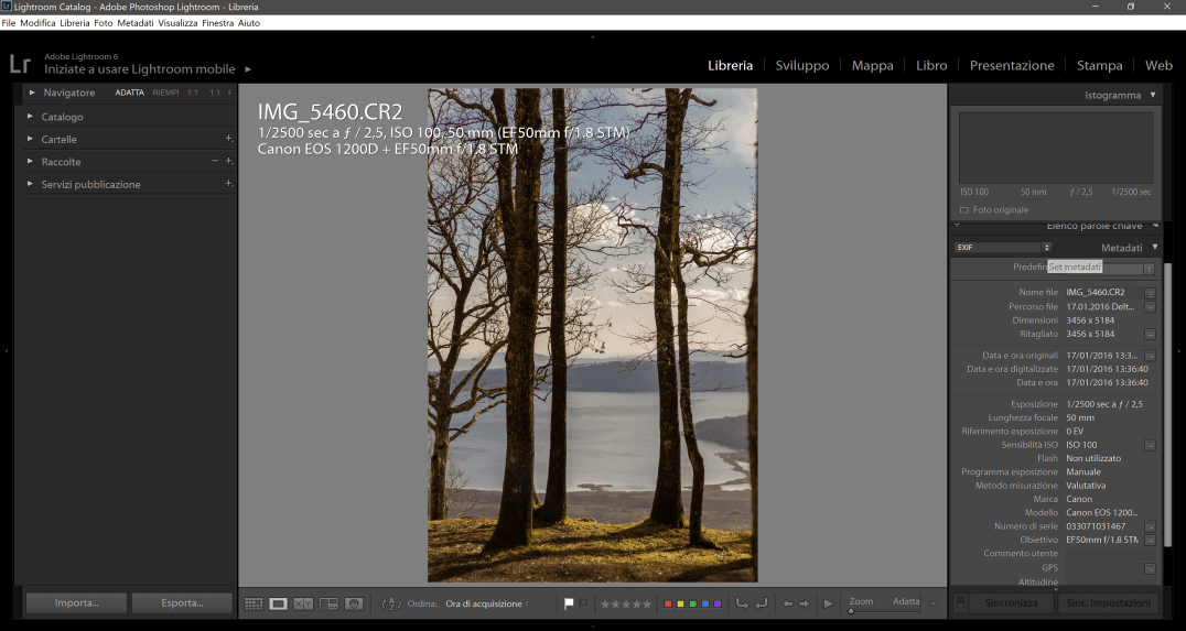 Dati Exif su Lightroom