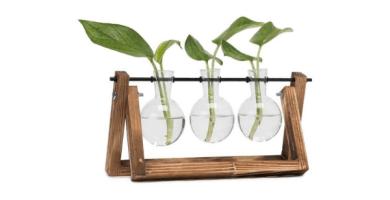 Hyindoor Florero de Vidrio para Planta Hidropónica Florero de Bulbos de 3 Jarrones