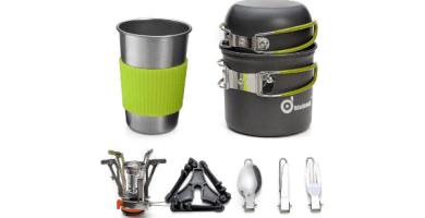 Odoland Utensilios Cocina Camping Kit con Ollas Camping y Sartén de Aluminio