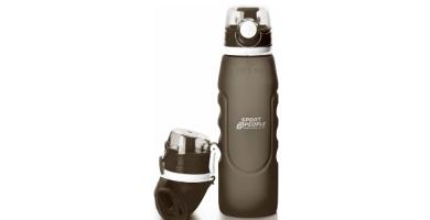 sport2people Botella de Agua Plegable de Silicona de 1 L, Calidad médica, sin BPA