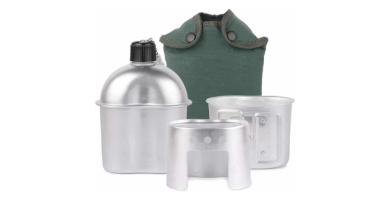 Lixada Cantimplora Militar para Camping de Aluminio Utensilios de Cocina 3pcs con Copa y Estufa para Camping