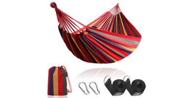 Anyoo Hamaca de Algodón para Jardín al Aire Libre Cama Portátil de Lona con Cuerdas para Acampar