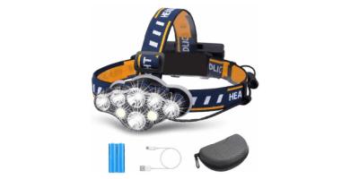 OUTERDO Linterna frontal superbrillante, 8 ledes, 8 modos, con luz de advertencia, USB y 2 pilas impermeables