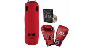 Hammer Home-Set Fit - Conjunto de Saco de Boxeo, Guantes y DVD (28 x 60 cm)
