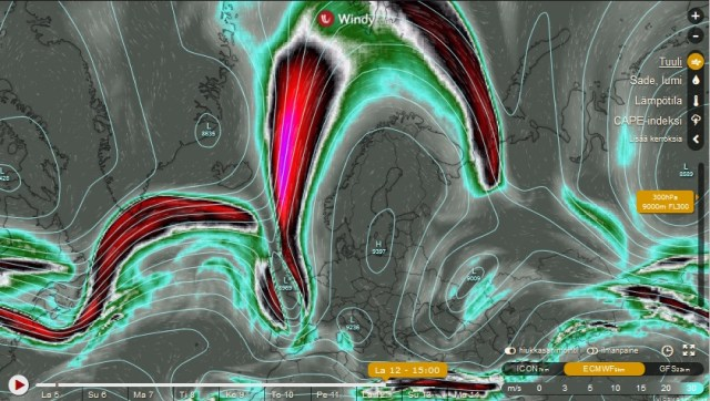 Kartassa nähtävissä suihkuvirtaukset