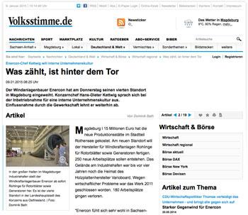 Volksstimme.de vom 9. Januar 2015