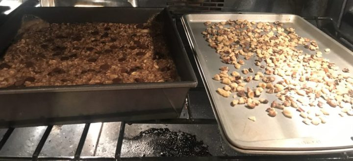 oatmeal and walnuts baking in the oven