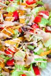 easy vegetarian black bean salad with taco sauce dressing