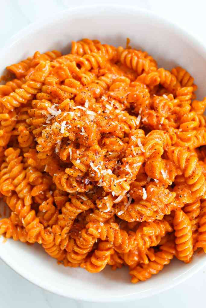 smoky and spicy vodka sauce for pasta in a white bowl