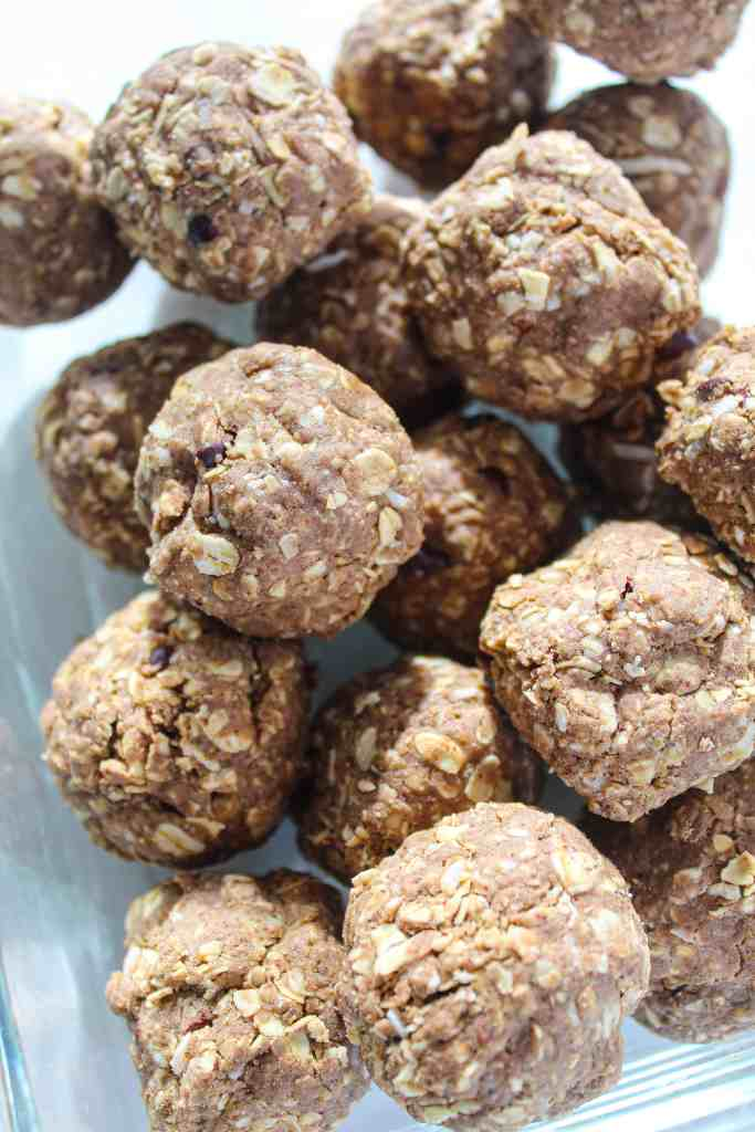 oatmeal cookie protein balls in clear glass dish