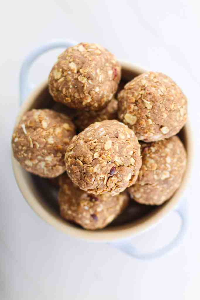 oatmeal chocolate chip cookie protein balls with almond butter