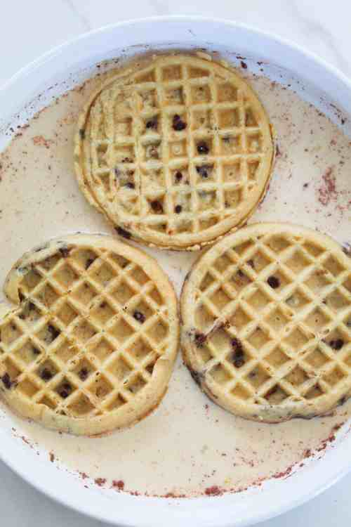frozen waffles in french toast batter