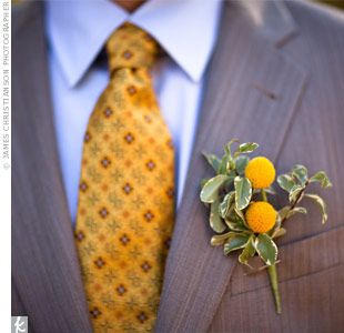 Laura loves yellow billy balls, so her florist used them in most of the wedding day arrangements.